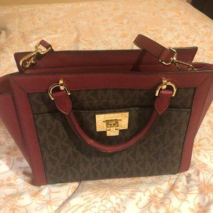 MICHAEL KORS TINA Brown Cherry Large Handbag